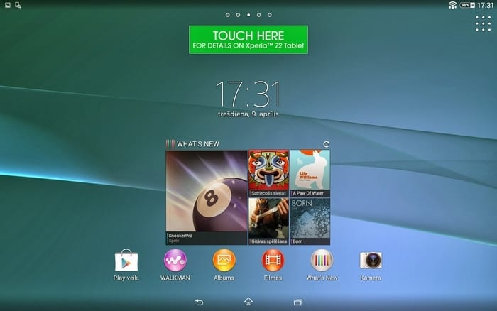 Xperia Z2 Tablet screen horiz 024